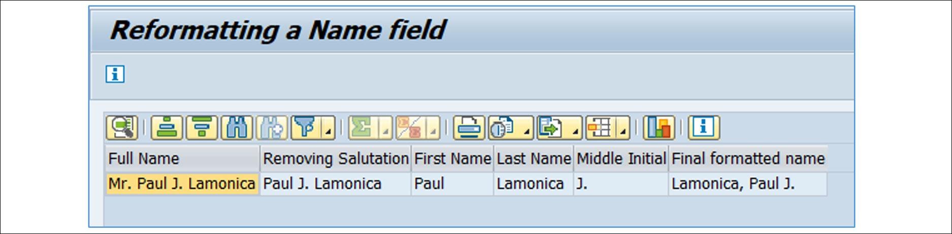 Formatting in field name