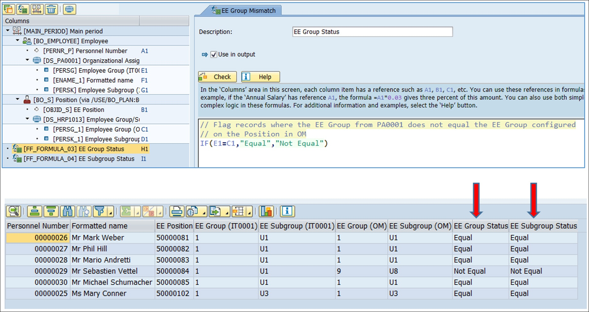 This formula will highlight when two fields from different parts of SAP do not equal each other