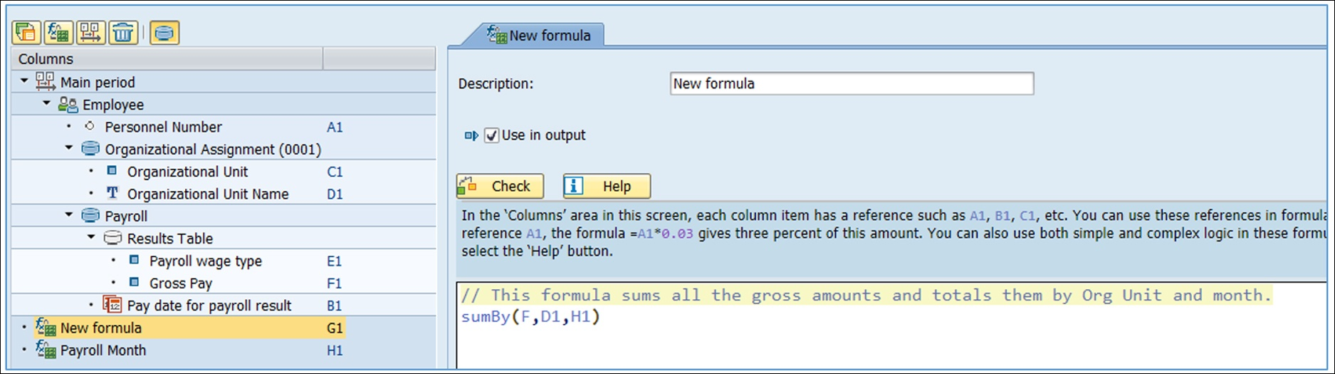 The second formula creates the total gross pay, subtotaled by Org Unit and by month. Also, this formula is using the output of the earlier formula as one of its parameters. Query Manager knows to execute the first formula before the second