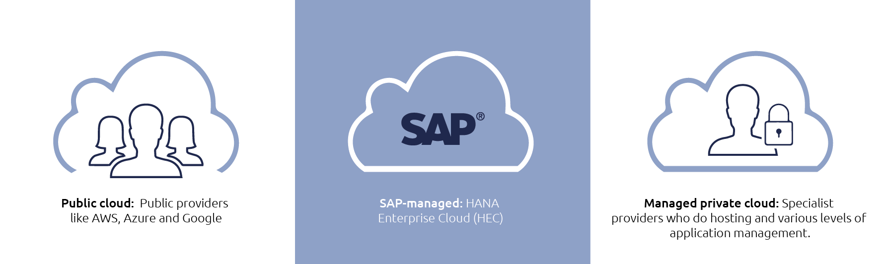 Three main SAP Cloud Deployment options
