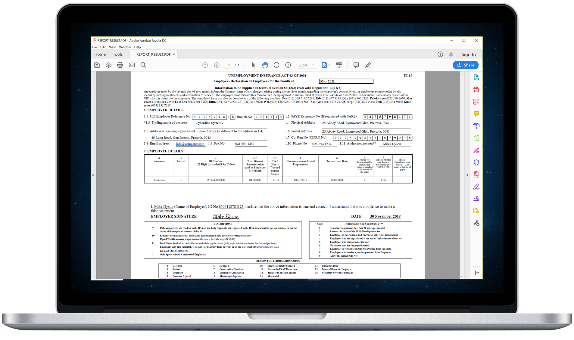 It is also possible to submit a bulk file to the UIF, instead of a generated UI-19 form, but a company may still want to opt to submit the generated form