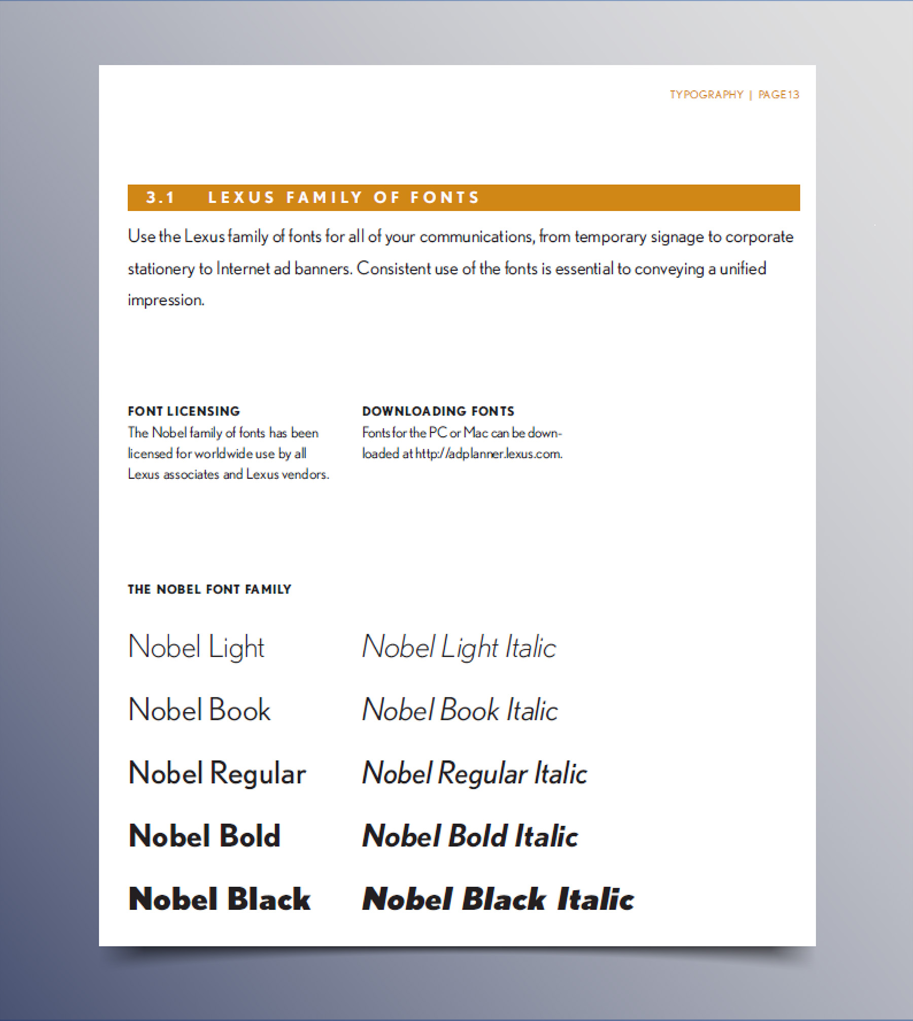 Sample of Font Guidelines