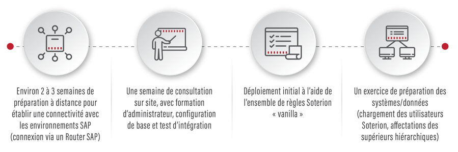 Remote prep to connect with SAP environments, onsite consultancy, training, configuration & integration testing, deploying Soterion 'vanilla' ruleset
