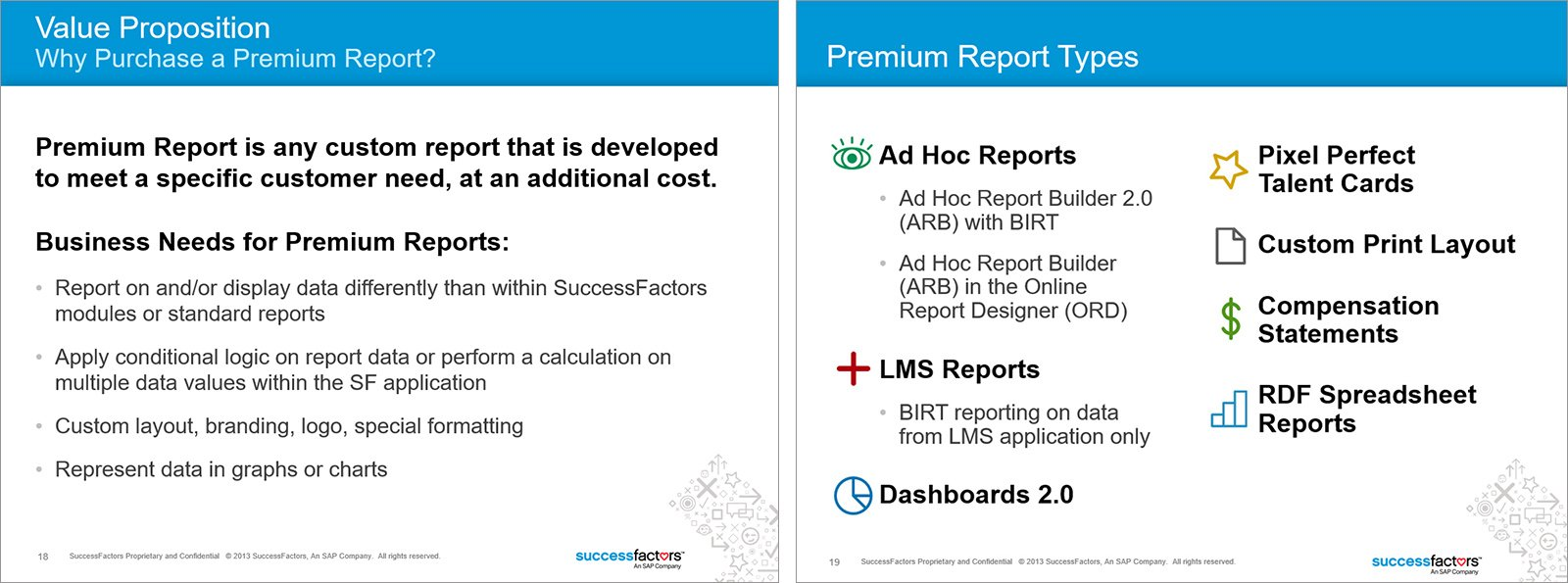 Value Proposition and Premium Report Types