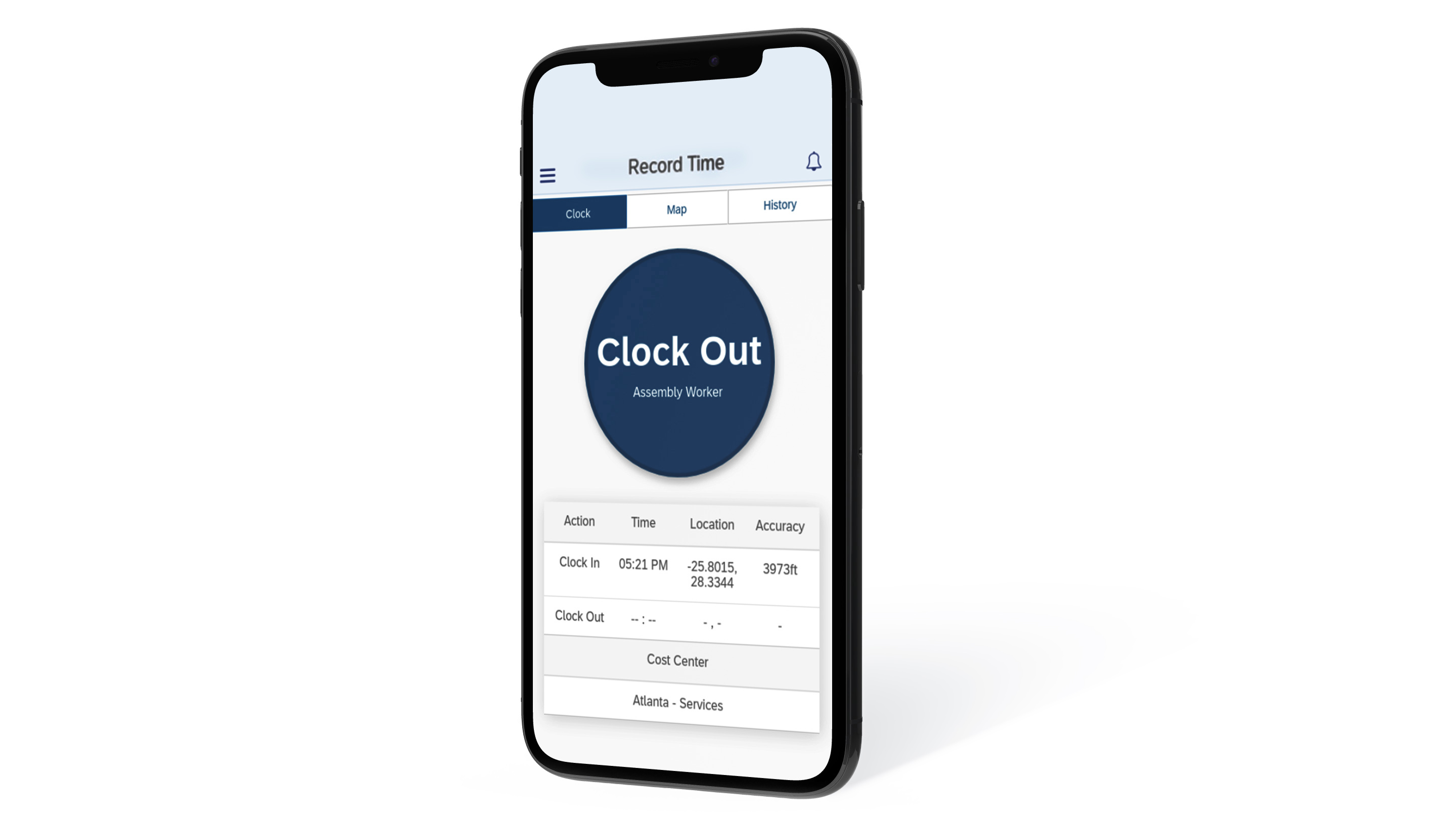 Clock out with GeoClock